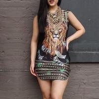 Plus Size 2016 Sexy Women Summer Bodycon Dress Sleeveless Mini Fashion Animal Printed Package Hip Party