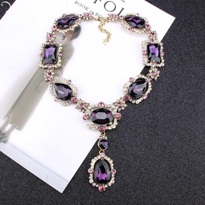 Dvacaman Purple Square Crystal Statement Necklace Women Romantic Heart Glass Pendant Necklace Indian Bridal Jewelry ZA Christmas