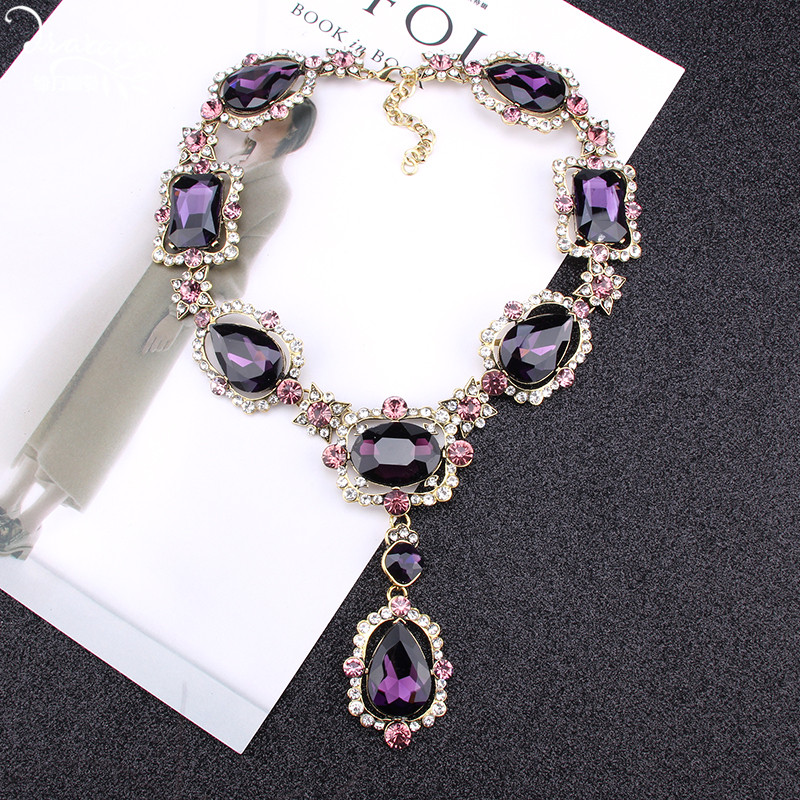 Женское Ожерелье с кристаллами Dvacaman, фиолетовое квадратное ожерелье с подвеской в виде романтического сердца, индийские свадебные ювелирные изделия ZA Christmas
