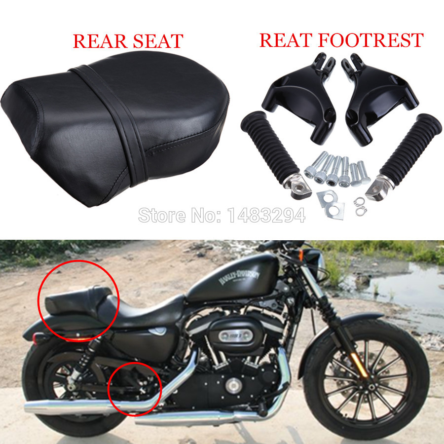 1Set Rear Passenger Foot Peg Footrest & Pillion Passenger Seat Cushion Fits For Harley Sportster 883 XL 2007-2013 rear pillion passenger seat fits fits for harley davidson flstsb softail cross bones 2008 2011