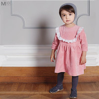 Three Quarter Quality Pink Kids Dress For Girls Cute Baby Lace Dresses Children Princess Clothes Baby