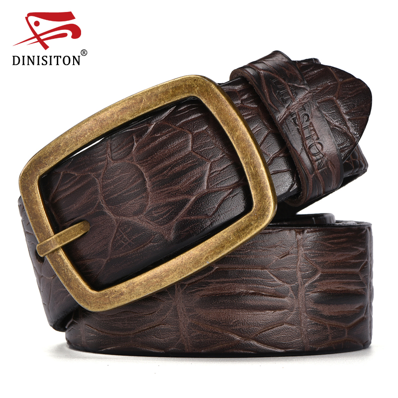 DINISITON Fashion Designer Strap mens Genuine Leather Belts For men Crocodile print belt male High quality Alloy buckle ERF