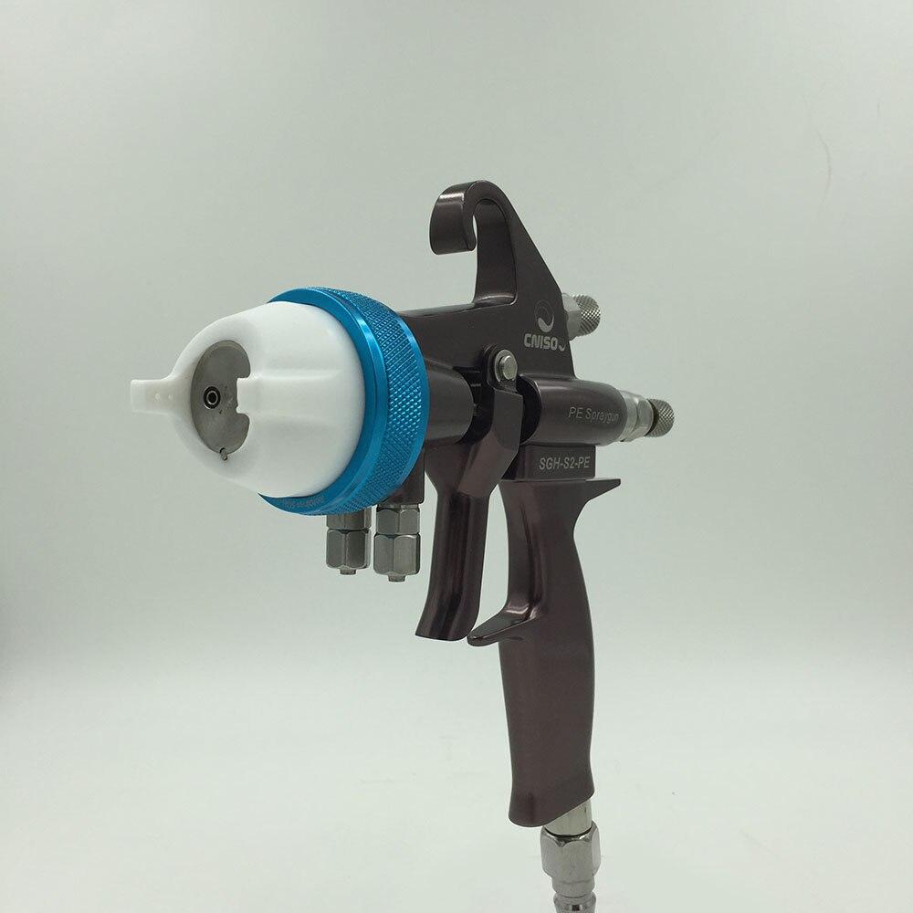 цена на SAT1202 spraying air compressor pneumatic spray gun for car painting double nozzle pressure feed spray gun silver mirror chrome