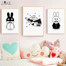 Cute Cartoon Rabbit Canvas Art Painting Poster Print Decorative Picture Baby Bedroom Nursery Wall Decoration