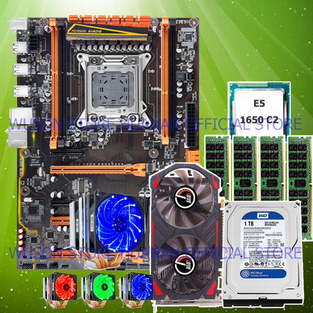 HUANAN ZHI deluxe X79 motherboard with M.2 CPU Xeon E5 1650 C2 3.2GHz cooler RAM 32G(<font><b>4</b></font>*8G) RECC video card <font><b>GTX750Ti</b></font> 1TB SATA HDD image