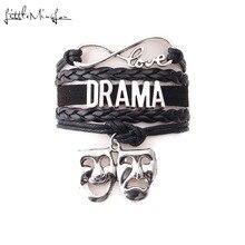 Маленький MingLou Бесконечность любовь драма браслет театр комедия искусство брелок маска кожа драма любительский для мужчин браслеты для женщин