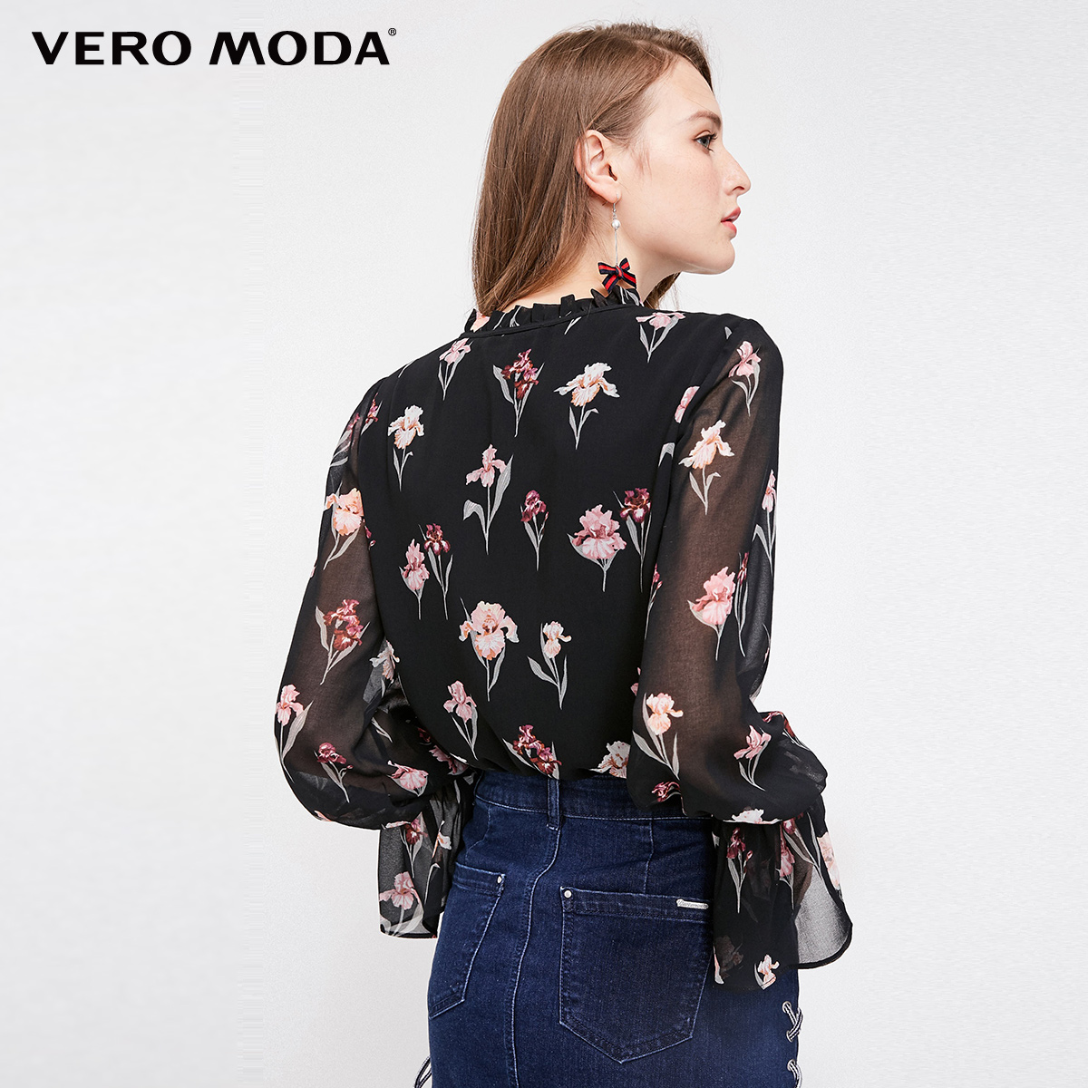 Image 3 - Vero Moda New Womens Floral Pattern Flared Sleeves Chiffon Blouse Tops  318351502Blouses