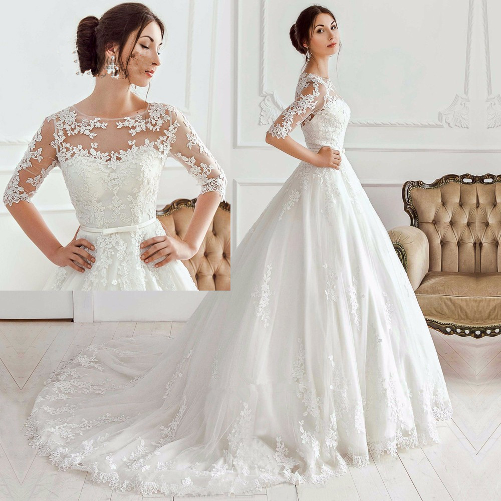 Korean Vestido de Noiva Vintage Princess bridal Gowns Lace Half Sleeve Applique 2018 Casamento mother of the bride dresses