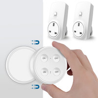UK Wireless Socket Kit with 2 Plugs and 1 Wireless Switch Handy Remote Control Electric outlet for Household devices up to 30m