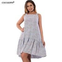 COCOEPPS New Cascading Ruffle Women Dress 2017 Big Size Floral Print Femme Spaghetti Strap Dresses Large