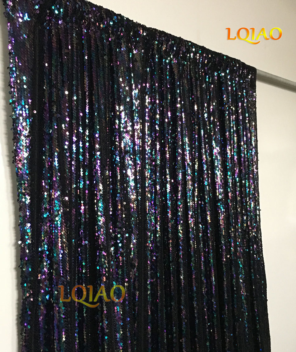 848214b2 4FT*6FT Rainbow/Gold/Rose Gold/Black Shimmer Sequin Fabric ...