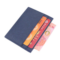 Business Black Red Genuine Saffiano Leather Card Holder ID Card Case Flat Credit Card Holder