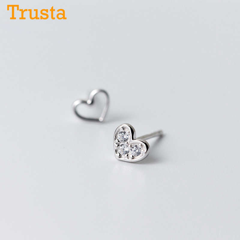 Trusta 2018 100% 925 Sterling Silver Fashion Women's Jewelry 6mmX5mm Heart With CZ Stud Earring Gift For Girls Kids Lady DS542