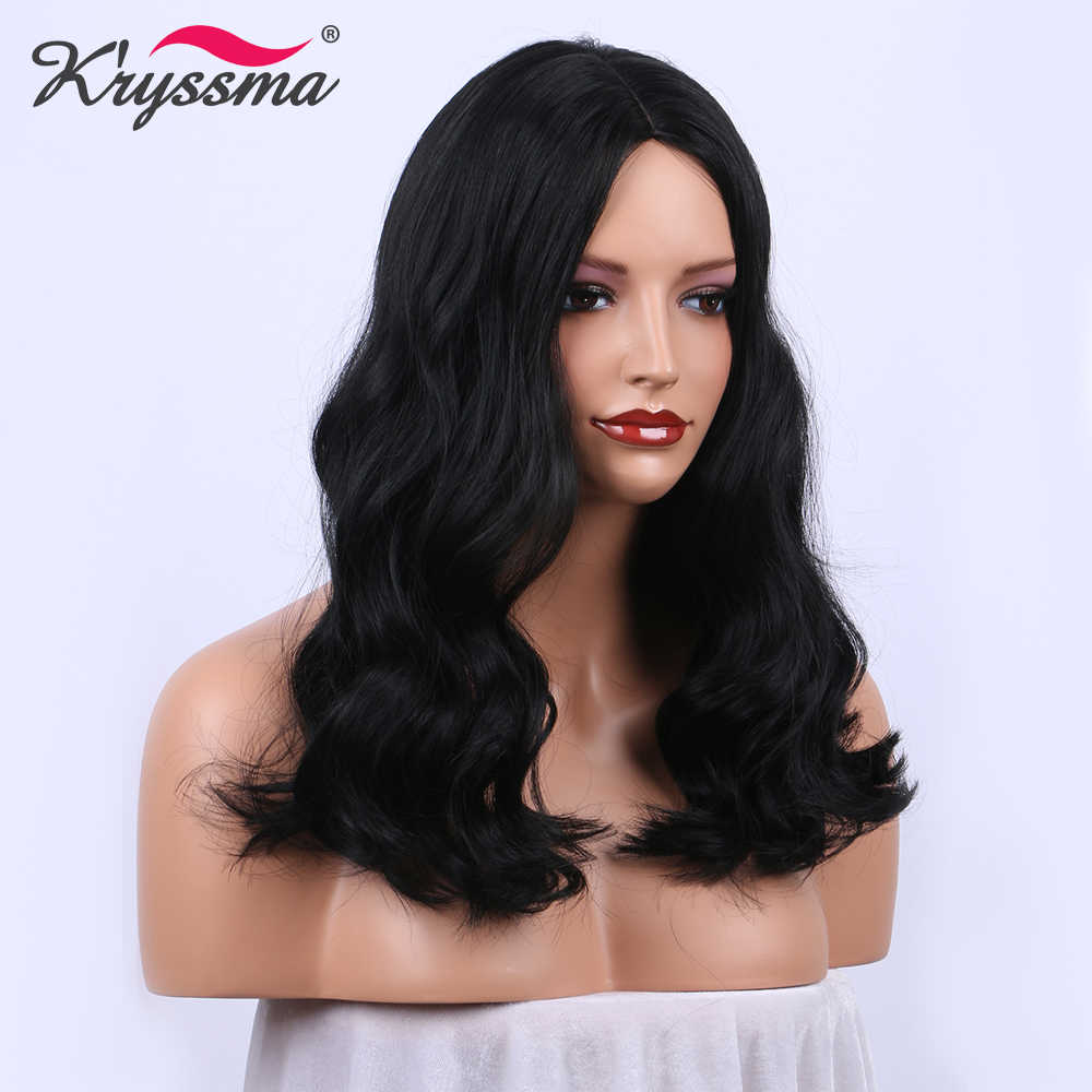 Jet Schwarz Synthetische Haar Perücken für Frauen Medium Wellenförmige Perücke Mittelteil Volle Maschine Made Glueless Hitze Beständig Faser