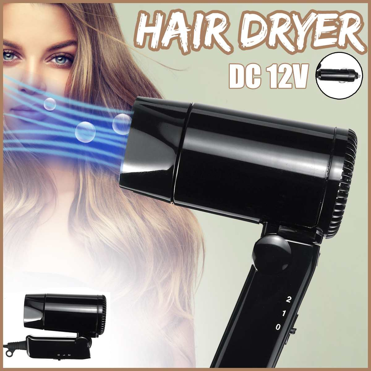 Portable Electric Hair Dryer 12V Car Folding Hair Dryer Hairdressing Tool Outdoor Travel Camping Vehicle Mini Hair Blower 3 Mode