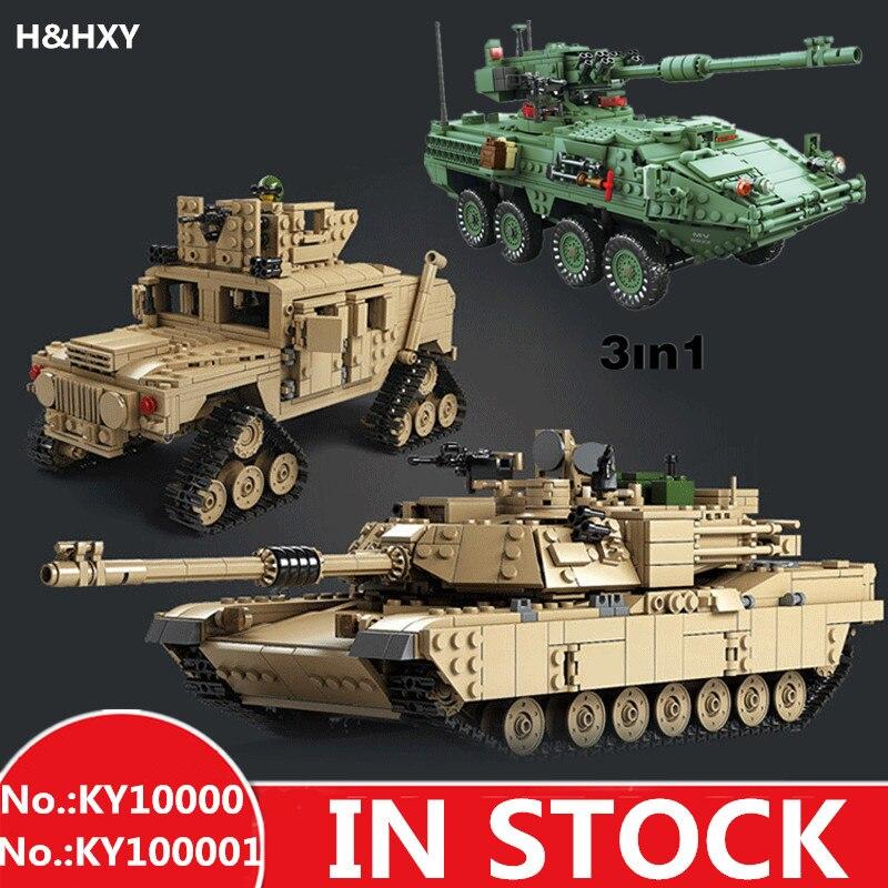 H & HXY Blocchi di Costruzione Tema Militare Serbatoio M1A2 ABRAMS MBT KY10000 1 Cambiamento 2 Giocattoli 1463 pz KY 10001 1672 pz 3 in 1 Modelli di Carro Armato