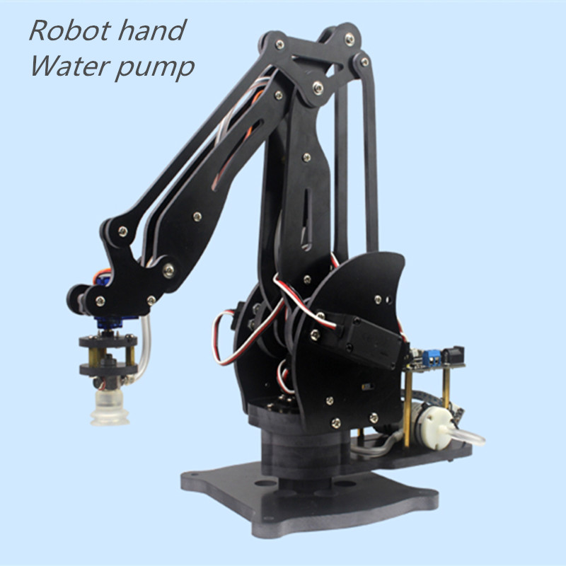 6 DOF Alloy Robot Arm Clamp Claw Turntable Base & 6 Servo Complete sets Arduino Pump DIY metal circular rotating base camera photography turntable for standard servo f17314