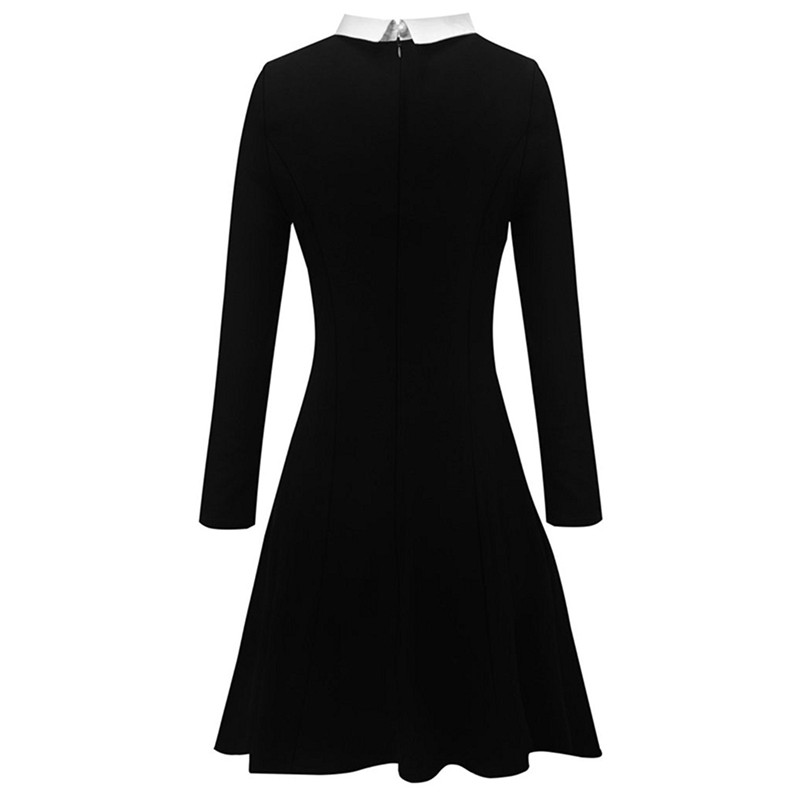 Women Vintage Retro Tunic Slim Elegant Formal Work Office Business Pleated A-line Classic Black Skater A-Line Party Dress Suit