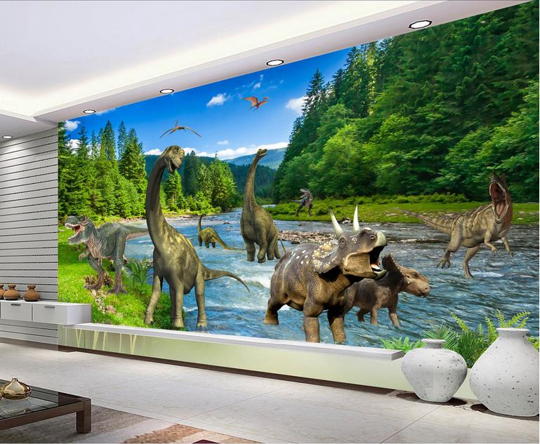 custom mural wallpaper jurassic dinosaurs 3d photo non-woven Sticker kids room TV background wall painting wallpaper for wall 3d pzcd pz 16 skull style creative 2 led mini red flashlight keychain white 2 x ag3 included