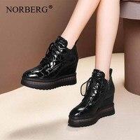 Norberg/Новинка; модные зимние женские ботинки; черная обувь; кожаные зимние сапоги; женские ботинки на танкетке; зимняя обувь; женские ботинки