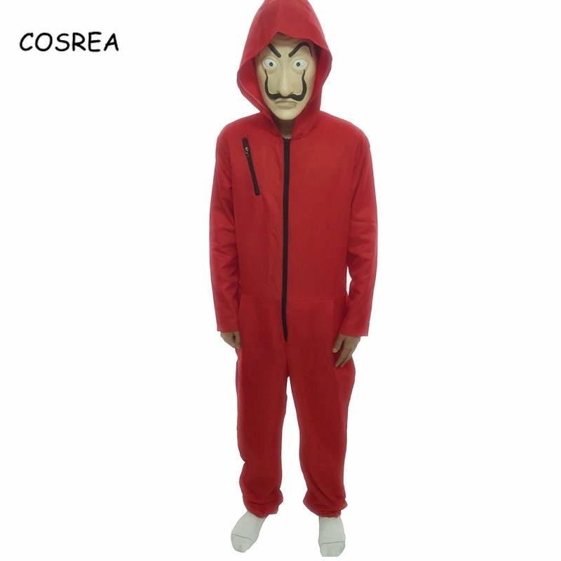 COSREA Salvador Dali Cosplay Costume La Casa De Papel Fancy Red Jumpsuit Face Mask Bodysuit Halloween Party For Women and Men