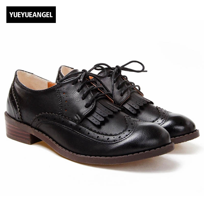 New Spring Vintage Fashion Womens Low Heels Shoes British Style Retro Fringe Tassel Wingtip Brogues Lace Up Oxford Shoes Black beau today brand retro british style 2017 women low heel genuine leather casual brogues wingtip oxford shoes black blue brown