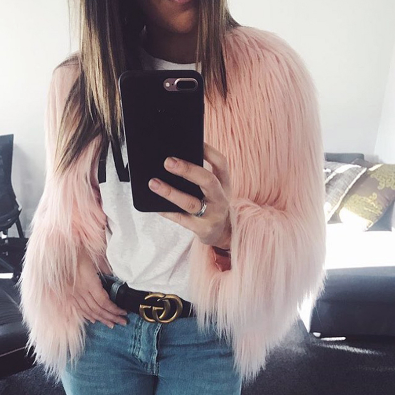 Fashion Furry Faux Fur Coat Women Fluffy Warm Long Sleeve Female Outerwear Autumn Winter Coat Jacket Hairy Collarless Overcoat 17