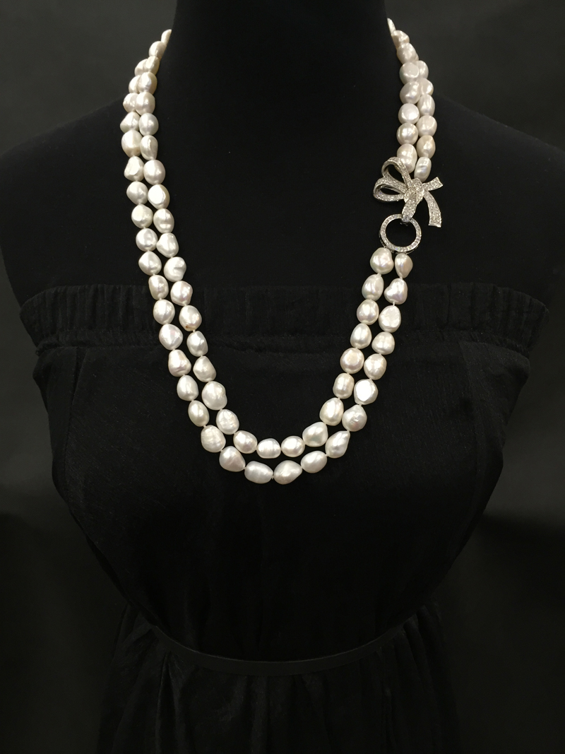 1011mm Natural Fresh Water Pearl Necklace Irregular Double Layers 70cm  With Bowknot Clasp Fashion