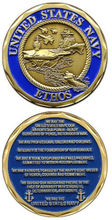 low price Custom coin  hot sales U.S. Navy Ethos Challenge Coin High quality metal coins FH810189