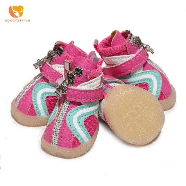 Para mascotas de perro de cuero zapatos de verano transpirables Zapatos de deporte, zapatos de fondo suave gato mascota Chihuahua Bulldog francés calzado DOGGYZSTYLE
