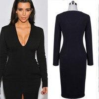 חם Kim Kardashian את Springof 2018 לפסק של עם שרוולים ארוכים סקסית להרחיב פיצול שחור/אדום שמלת