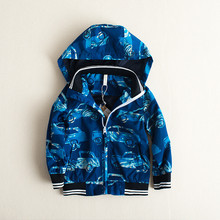kids clothes mini rodini kids winter coats 2016 autumn and winter new boy blue car pattern long sleeve and cap zipper coat