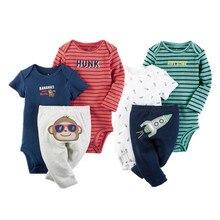 2017 orangemom bébé garçon vêtements d'été bébé garçon vêtements 100% nouveau-né combinaisons de bébé + pantalon 3 pcs enfants garçon vêtements ensemble