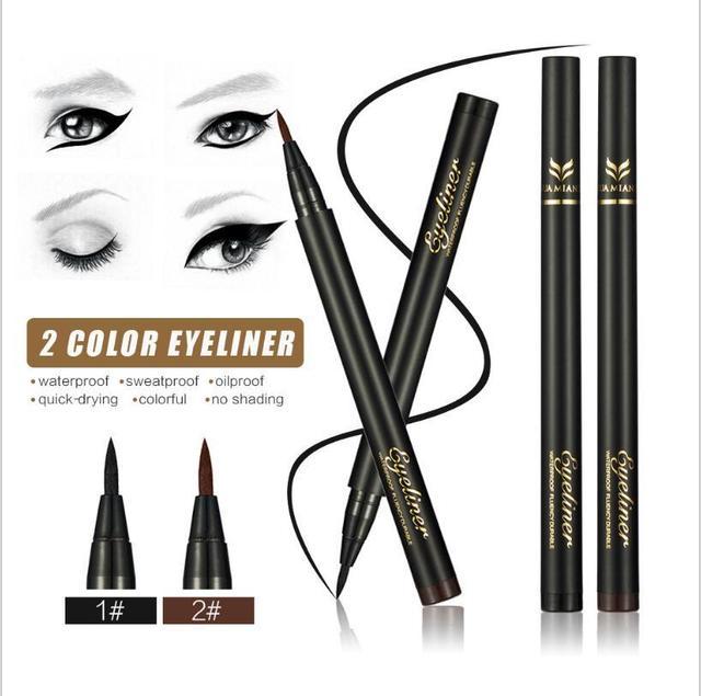 Huamianli 1 pcs Silky Soft Eyeliner Cool Black Fibers Quick Dry Eyeliner Pen Anti - Perspiration Waterproof HUEY0210