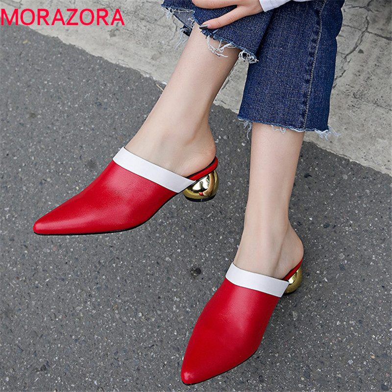 MORAZORA 2019 New Arrival Genuine Leather Mules Shoes Woman Mixed Colors Summer Shoes Pointed Toe Fashion Party Women Pumps