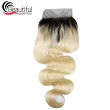1b/613 Blond Lace Frontal Brazilian Body Wave Human Hair closure 4x4 Free Part 10-20 Inch Remy Hair Beautiful Queen Hair(China)