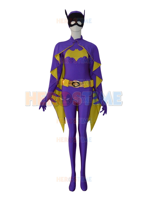 Newest Batgirl Costume Purple Female Batgirl Superhero Costumes Lycra Spandex Ffull body Zentai Suit For Halloween Cosplay