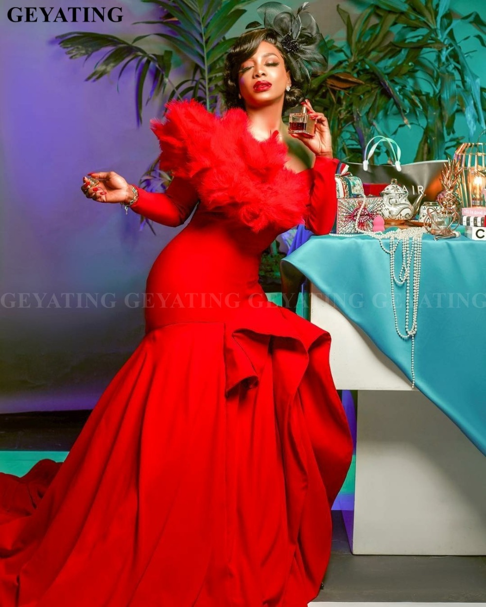 Elegant One Shoulder Red Mermaid Feathers   Evening     Dress   Long Sleeves African Women Prom Long Formal   Dresses   Plus Size Nigerian