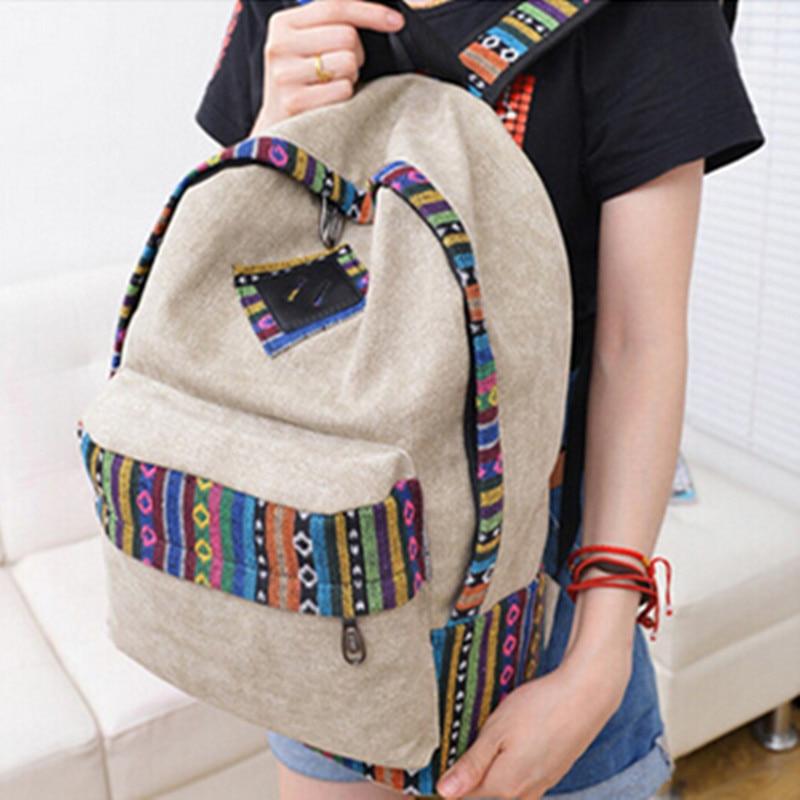 $8.49 Women Canvas Backpack Satchel Rucksack Shoulder Bag Travel School Book Bag Top Quality Free Shipping P109 mochila bolsas