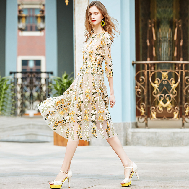 Fancy Golden Floral Embroidery dress