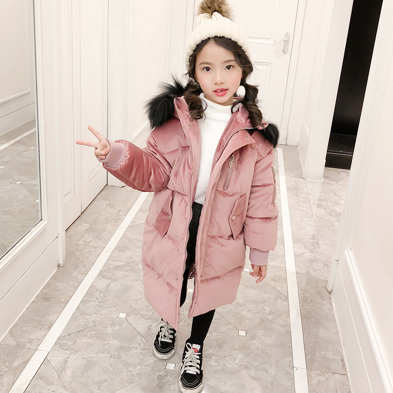 2018 New Girl Winter Coat Cotton-Padded Children Down Jacket For Girl Kids Warm Thick Hooded Outwear For Teenage TZ64 girl winter coat 2017 flannel lining larger hooded warm padded cotton kids jacket suitable for extremely cold weather