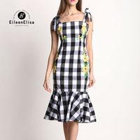 Runway Dress 2017 Women High Quality Luxury Plaid Dress