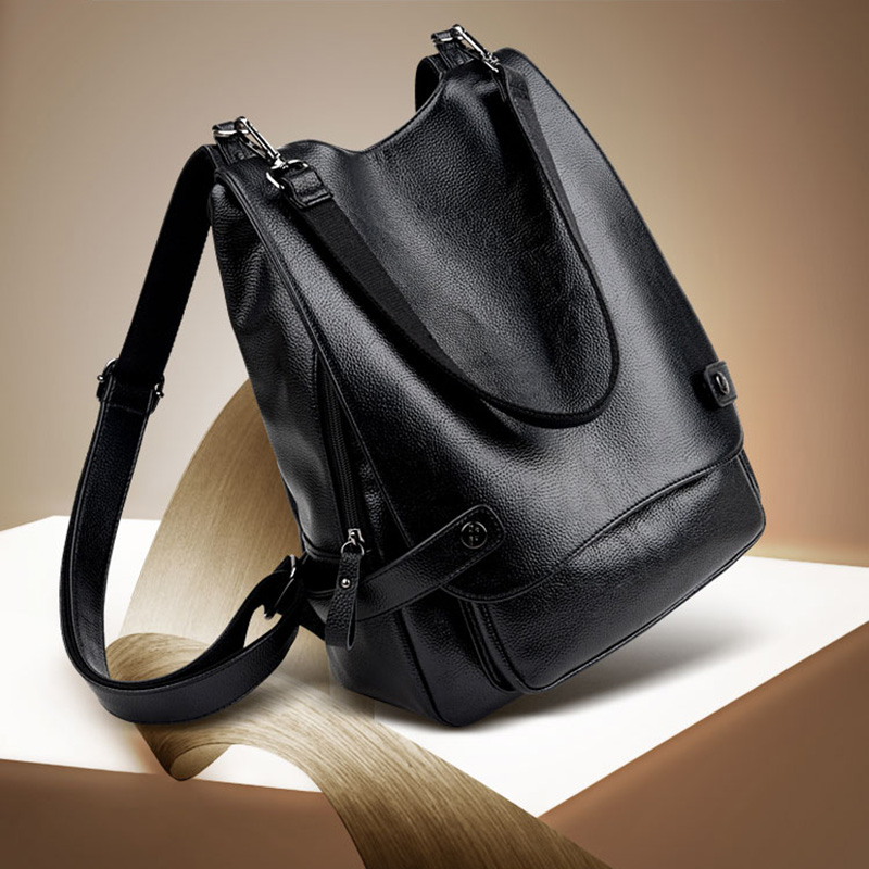 New Arrival Women Black Genuine Leather Backpacks School Bag for Teenager Girls Famous Brands mochila Travel