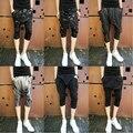 29-33! 2014 hombres delgados pantalones capris ocasionales de los hombres de marca trajes del cantante etapa de impresión cráneo pantalones harén pantalones