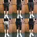 29-33 ! 2014 male slim casual capris pants men's brand stage singer costumes skull print harem pants trousers