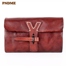 PNDME fashion vintage designer handmade luxury soft genuine leather cowhide ladies long clutch bag womens wallet phone