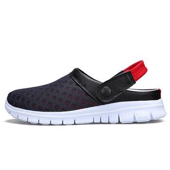 Fashion Men's Summer Shoes Big Size 36-46 Breathable Mesh Mens Slippers Lightweight Slip On footwear L927M