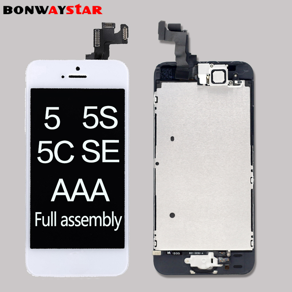 Vollversammlung LCD screen für iPhone 5/5C/5 s/SE LCD Display LCD Touch Screen Digitizer volle Ersatz pantalla + Taste + Kamera