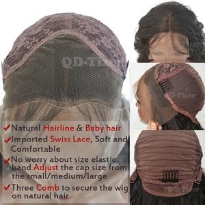 Image 5 - QD Tizer فضفاض موجة اللون الأسود الباروكات شعر الطفل غلويليس الاصطناعية الدانتيل شعر مستعار أمامي عالية الكثافة الشعر لمة لأسود النساء