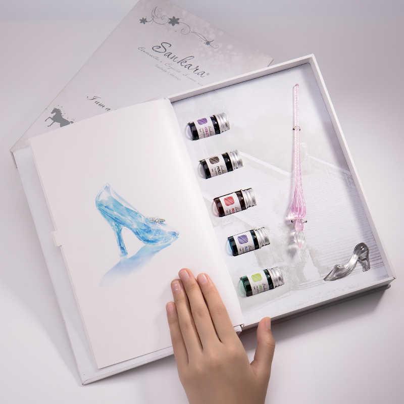 Бесплатная доставка, красота Золушка кристалл стеклянная перьевая ручка с чернилами и держателем ручки, Подарочная коробка, подарок на день рождения